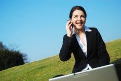Geschäftsfrau, die auf dem Gebiet arbeitet Stockbild