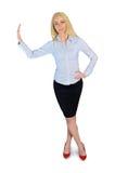 Geschäftsfrau, die auf etwas sich lehnt Stockbilder