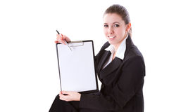 Geschäftsfrau, die Darstellung auf dem Vorstand macht Stockfotografie
