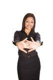Geschäftsfrau, die das einfache Ausdehnen demonstriert Lizenzfreies Stockfoto