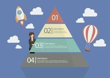 Geschäftsfrau, die das Pyramiden-Diagramm Infographic darstellt Stockbild