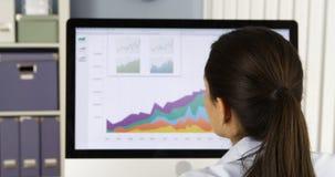 Geschäftsfrau, die Diagramme auf Computer analysiert Lizenzfreies Stockbild