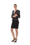 Geschäftsfrau, die Dokumente verwahrt Lizenzfreies Stockfoto