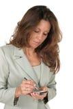 Geschäftsfrau, die PDA 1 verwendet Stockfotografie