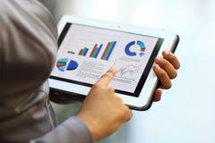 Geschäftsfrau, die Tablet-Computer verwendet, um zu arbeiten Lizenzfreie Stockfotos