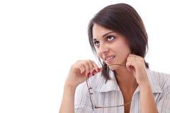 Geschäftsfrau-Holdinggläser Stockfoto