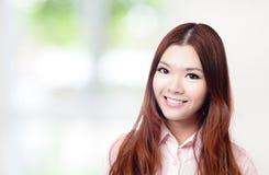 Geschäftsfrau Lächeln-Gesichtsabschluß oben Lizenzfreies Stockfoto