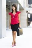Geschäftsfrau mit Aktenkoffer Lizenzfreie Stockfotos
