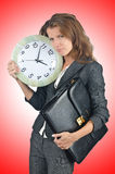 Geschäftsfrau mit Borduhr Lizenzfreie Stockbilder