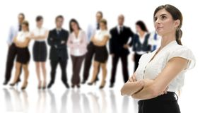 Geschäftsfrau mit ihrem Team Lizenzfreies Stockbild