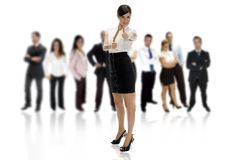 Geschäftsfrau mit ihren Arbeitskräften Lizenzfreie Stockfotos