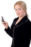 Geschäftsfrau mit Mobiltelefon Stockfotografie