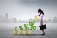 Geschäftsfrau mit Prozentsatzsymbol Lizenzfreies Stockbild