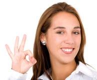 Geschäftsfrau-O.K.zeichen Lizenzfreie Stockbilder