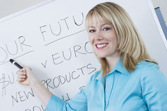 Geschäftsfrau Presenting Company Goals Stockfotos