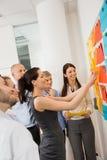 Geschäftsfrau Sticking Labels On Whiteboard Stockfotos