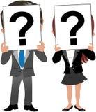 Geschäftsfrau-und Mann-Gesicht hinter Fragezeichen Stockbilder