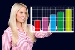 Geschäftsfrau zeigt eine grafische Kurve Stockfoto