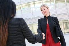 Geschäftsfrauen, die Hände rütteln Stockbilder