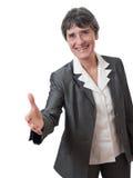 Geschäftsfrauhändedruck Stockfotos