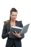 Geschäftsfrauholdingdokumente für signatur Stockbilder