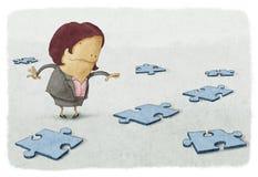 Geschäftsfraupuzzlespiele Lizenzfreie Stockfotografie