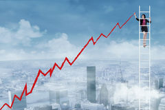 Geschäftsfrauzeichnungsdiagramm Stockbilder