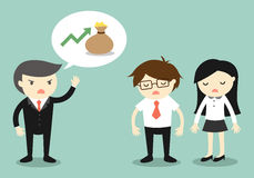 Geschäftskonzept, Chef, der über Einkommen der Firma spricht Stockfoto