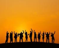 Geschäftsleute, die draußen Team Teamwork Support Concept treffen Lizenzfreie Stockfotos