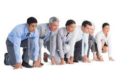 Geschäftsleute, die sich vorbereiten zu laufen Stockfoto