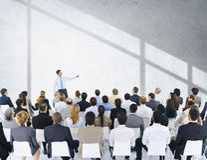 Geschäftsleute Seminar-Konferenz-Sitzungs-Darstellungs-Konzept- Lizenzfreies Stockbild