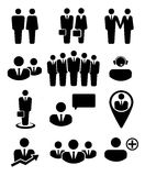 Geschäftsleute und Betriebsmittelikonen Stockbilder