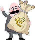 Geschäftsmann-Big Bag Money-Euro Lizenzfreies Stockfoto