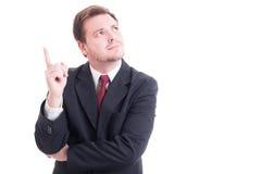 Geschäftsmann, Buchhalter oder Finanzmanager, die eine Idee haben Stockfotos