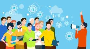 Geschäftsmann-Chef-Hold Megaphone Loudspeaker-Kollege-Geschäftsleute Team Leader Group Businesspeople Lizenzfreie Stockbilder