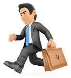 Geschäftsmann 3D, der mit seinem Aktenkoffer läuft Stockfotografie