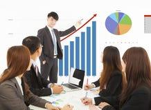 Geschäftsmann, der eine Darstellung über Marketing-Verkäufe gibt Stockbilder