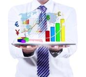 Geschäftsmann, der Finanzbericht zeigt Stockbilder