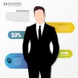 Geschäftsmann in der Klage Infographics Auslegungschablone Vektor Stockfotografie