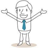 Geschäftsmann, der mit den offenen Armen lächelt Stockbild