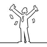 Geschäftsmann, der mit Geld in seinen Händen zujubelt Stockbild