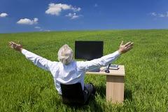 Geschäftsmann, der Schreibtisch auf dem grünen Gebiet feiert Stockfotografie