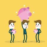 Geschäftsmann, der sein großes Sparschwein zeigt Flache Gestaltungselemente VE Lizenzfreies Stockbild