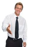 Geschäftsmann, der sich einführt Stockbild