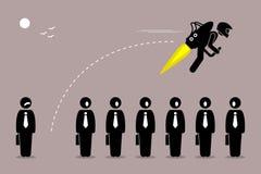 Geschäftsmann, der weg mit einem jetpack von seinem Kollegen fliegt Stockfotos
