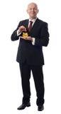 Geschäftsmann dropps Pound im goldenen Schwein Stockfotografie