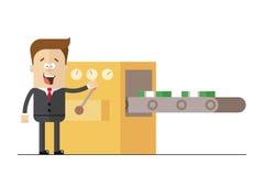 Geschäftsmann druckt Packs des Geldes auf der Linie Lokalisierter Illustrationsweißhintergrund Stockfoto