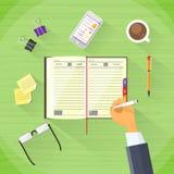 Geschäftsmann Hand Write Pen Notebook Desk Flat Stockfotos
