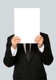 Geschäftsmann Holding Blank Signboard Stockbilder