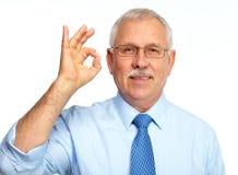 Geschäftsmann lokalisiert auf Weiß. Lizenzfreies Stockfoto
